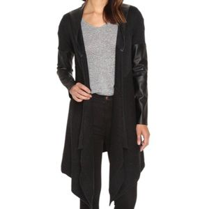 BLANK NYC hooded vegan leather sweater cardigan